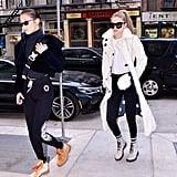 Gigi Hadid White Furry Coat