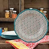 "The Pioneer Woman Retro Dot Teal 10.5"" Dinner Plate Set, Set of 4 ($20)"