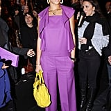 Rihanna brought major colour to the Paris Fashion Week front row, posing in a bold purple Sonia Rykiel outfit and vibrant yellow satchel during the Fall Winter 2008/2009 season.
