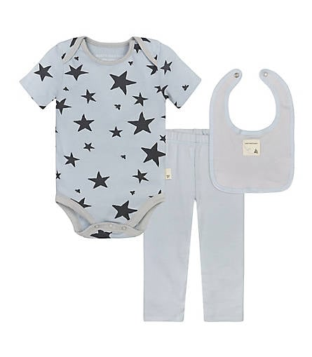 74fbc752e Burt's Bees Baby Shooting Stars Bodysuit, Pant & Snap Bib Set | Star ...