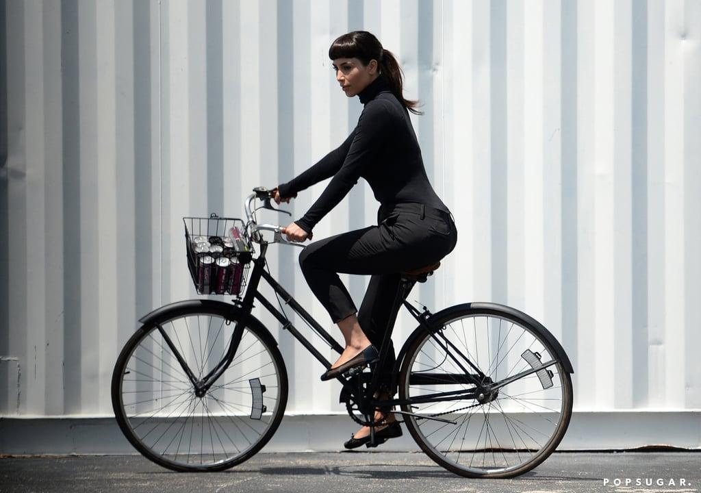 Kim Kardashian sported short bangs during a photo shoot in Miami Beach, FL, on Tuesday.