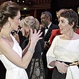 When she was engrossed in conversation with Kate Middleton.