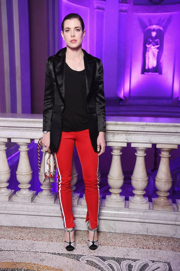 In February 2017, Charlotte gave the track pants trend a go when she attended the Gucci fashion show in Milan.