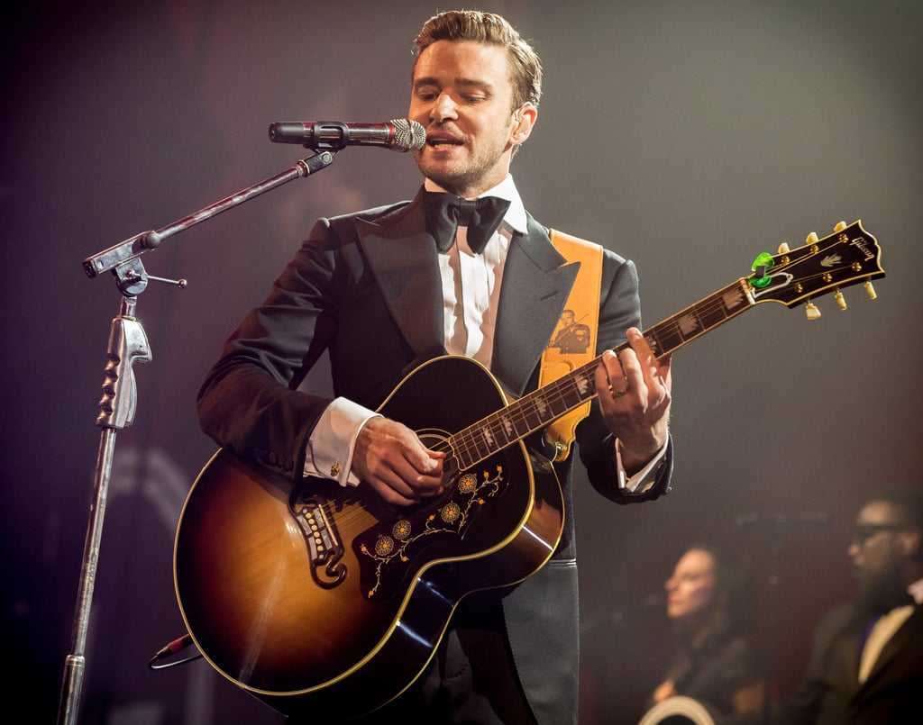 Justin Timberlake was back where he belongs — up on stage — when he performed in New Orleans at a pre-Super Bowl show on February 2.