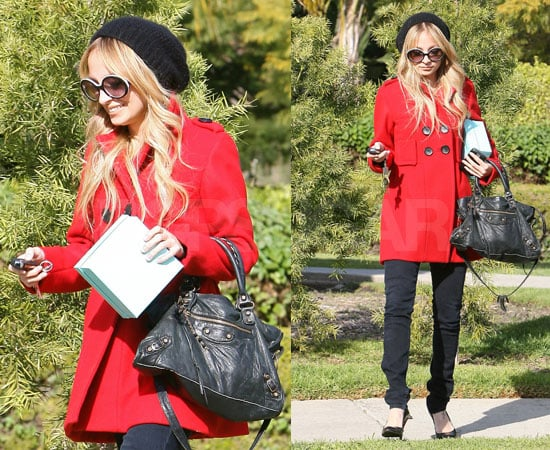 Photos of Nicole Richie in LA in a Red Coat