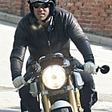 Ryan Reynolds went for a ride on his motorcycle around LA.