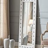 Kings Brand White Modern Upholstered Tufted Standing Floor Mirror