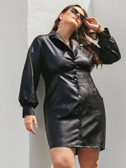 Shein Plus PU Button Up Lapel Collar Dress