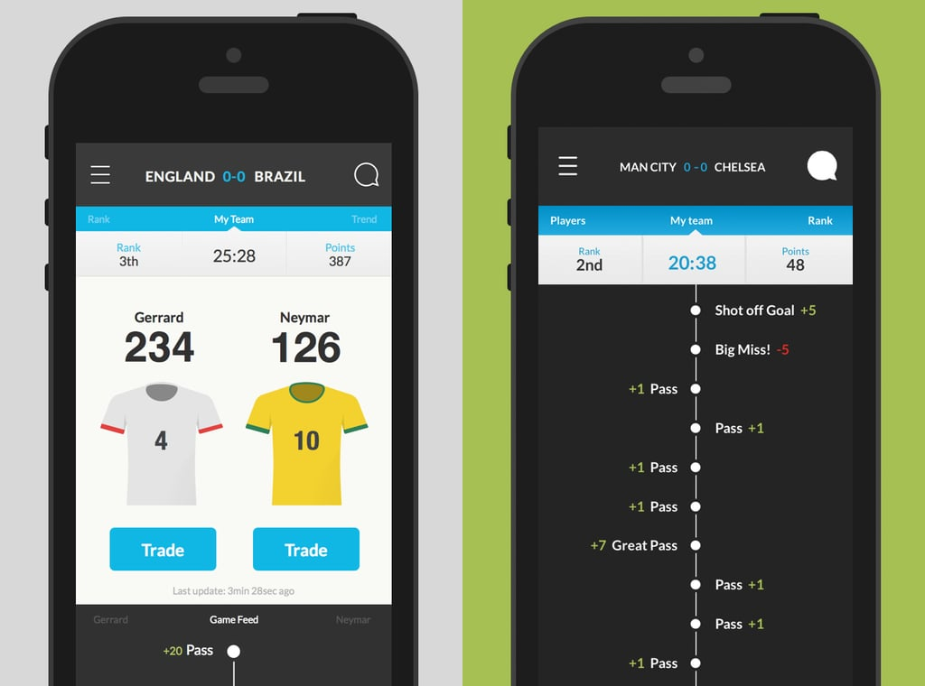 PopsugarCultureDigital LifeFree World Cup Fantasy League AppThe Easiest (and Most Fun) World Cup Fantasy League Ever July 1, 2014 by Nicole Nguyen26 Shares Chat with us on Facebook Messenger. Learn what's trending across POPSUGAR.Fantasy sports leagues are the best: there's friendly taunting and perhaps an under-the-table cash prize for the victor — but they require so much time and commitment. A whole season is far too long to dedicate yourself to a single thing, which is why our new obsession is Ultimate Fan Live for iOS (free), which takes fantasy fútbol to the next level. Instead of picking a full team and acquiring points all season long, in Ultimate Fan Live, players pick a live match, draft just two players each, and then earn points based on how they play. But the craziest part is that this all happens in real time! Follow how you're doing on your phone while you're watching the live game. It's a great second-screen experience for World Cup fans.We love how - 웹