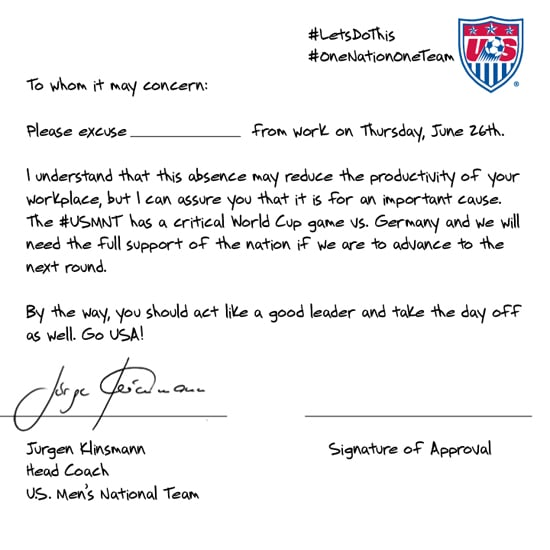US Men's Soccer Coach Shares a Letter to Get You Out of Work
