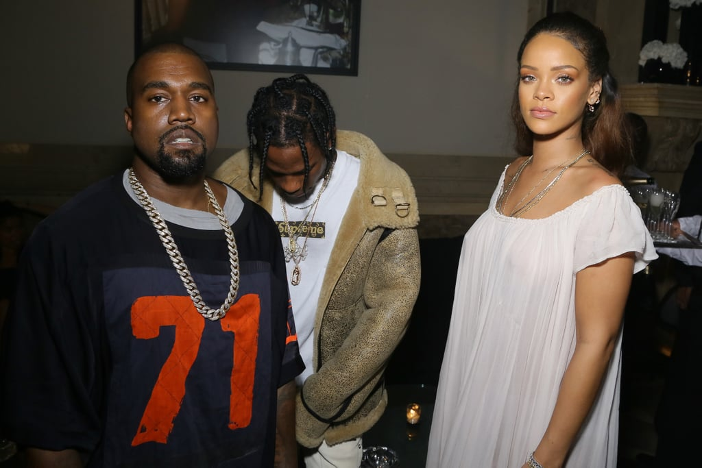 9e2291f8ddc0 Rihanna, Kanye West, and Travis Scott | Celebrities at Paris Fashion ...
