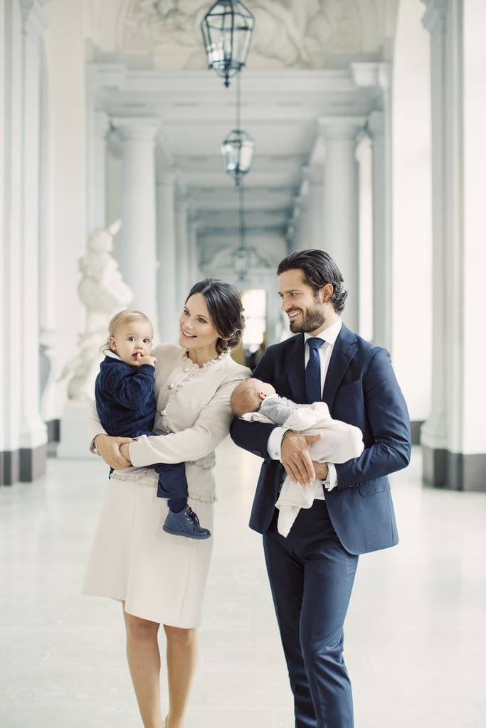 """Princess Sofia and Prince Carl Philip of Sweden welcomed their second child, Prince Gabriel, back in August, and now the world is finally getting a first look at their little bundle of joy. On Monday, the Swedish royal couple released the first family portraits featuring their two sons, Gabriel and 1-year-old Prince Alexander, and they are precious. The photos, which were taken earlier this month at the East Gate of the Royal Palace by photographer Erika Gerdemark, include a snap of Sofia cradling baby Gabriel as he adorably looks up at her and another of Carl holding Gabriel while Sofia carries Alexander.        Related:                                                                                                           Princess Sofia's First Encounter With Prince Carl Philip Was """"Love at First Sight""""               Along with the shots, Carl and Sofia also included a sweet statement that reads, """"A big and warm thanks for all the kind congratulations that have been received in connection with the birth of our son, Prince Gabriel. We appreciate your caring a lot."""" According to a palace spokesman, Gabriel is set to be christened at Drottningholm Palace Church on Dec. 1, which means we'll hopefully be treated to even more sweet family moments."""