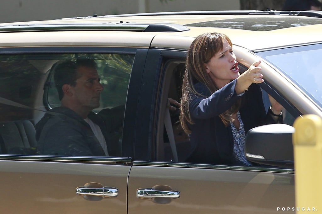 Jennifer Garner got animated while filming a car scene with Steve Carell.