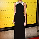 Anja Rubik wore a black gown to the Victoria Beckham collection launch  at Harvey Nichols.