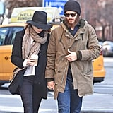 The couple held hands in NYC in December 2014.