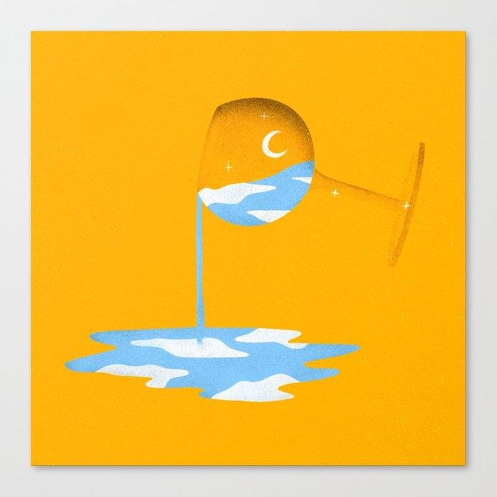 Alternative Sunrise (in Yellow) Canvas Print by Emily Lynn Design