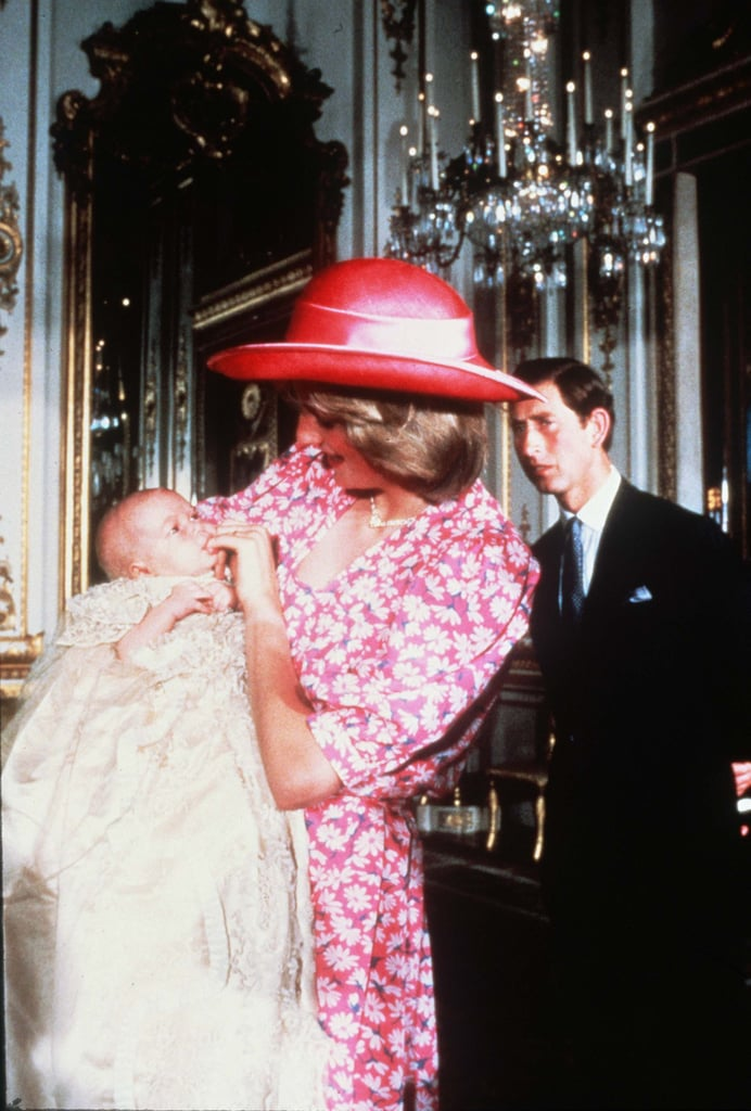Princess Diana soothed baby William during his 1982 christening photos.