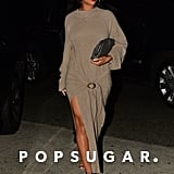 Rihanna Wearing a Brown Sweater Dress in LA