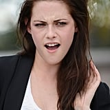 Kristen Stewart got animated at the On the Road photocall at the Cannes Film Festival.