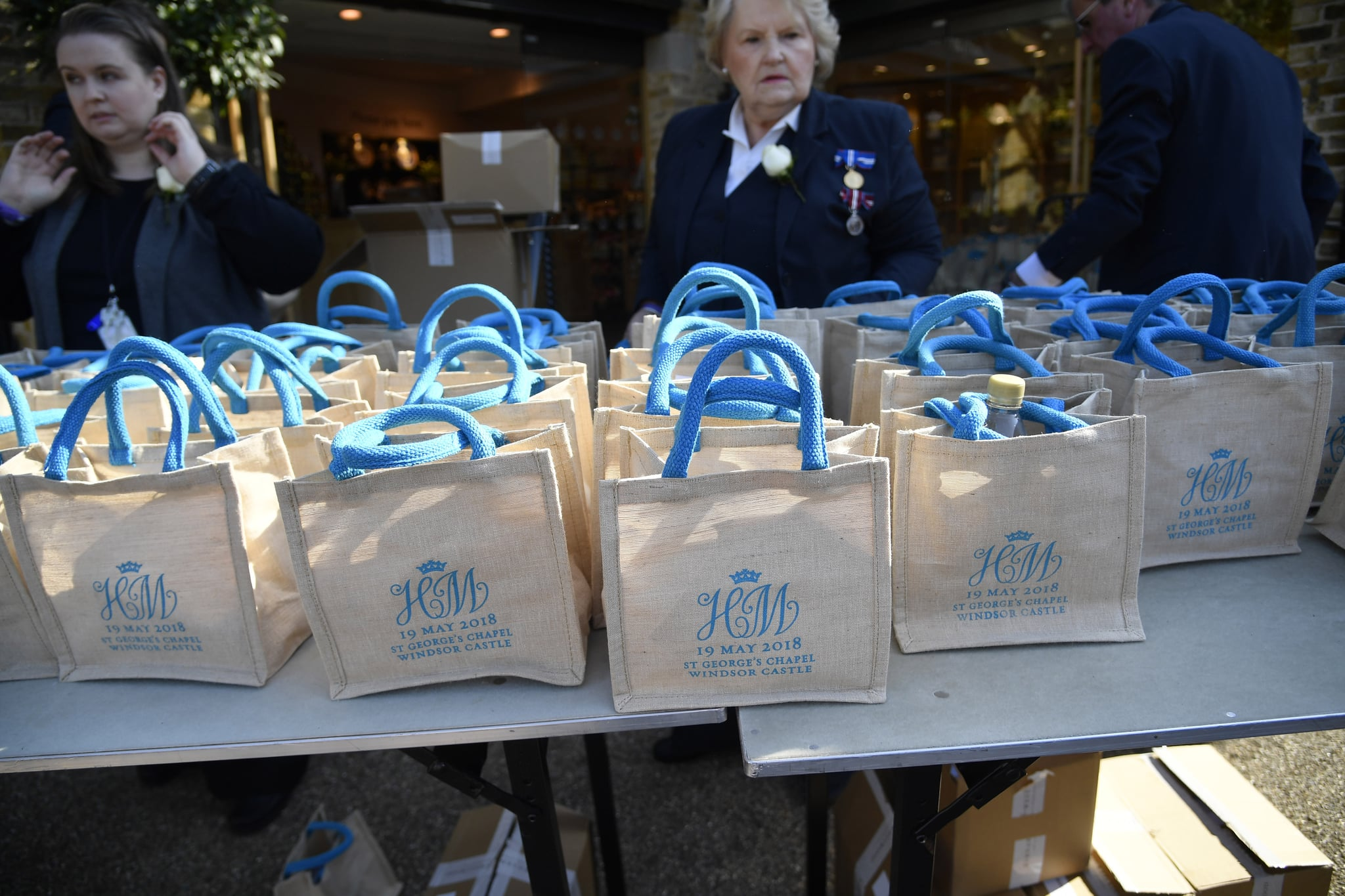 WINDSOR, UNITED KINGDOM - MAY 19:   Monogrammed gift bags at Windsor Castle before the wedding of Prince Harry to Meghan Markle on May 19, 2018 in Windsor, England. (Photo by Toby Melville - WPA Pool/Getty Images)