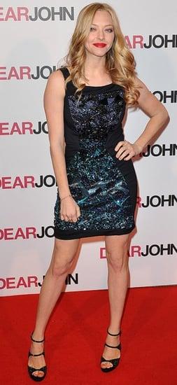 Amanda Seyfried in Doo.Ri Dress, Pierre Hardy Black Sparkly Heels, and Friendship Bracelets