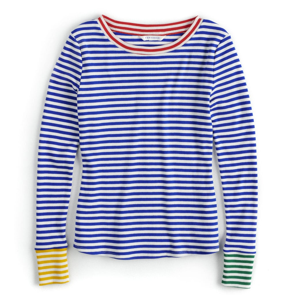 Contrast-Stripe Crewneck Sweater