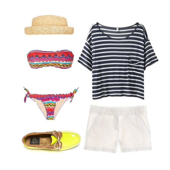 For a sailing date, there's really no reason not to go full-on nautical chic — after all, you're on a boat! Layer a printed bikini with crisp white shorts and a striped tee, then add a pair of classic boat shoes in a fresh, fun color combo. Add a straw hat and sunglasses, and you'll be perfectly prepped for a day at sea.