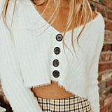 UO Rochelle Fuzzy Cropped Cardigan