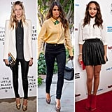 Button-down blouses are a style staple, especially for many working women, and the way many celebrities are wearing theirs these days is totally buttoned. See how to style up this look and shop similar pieces right here.