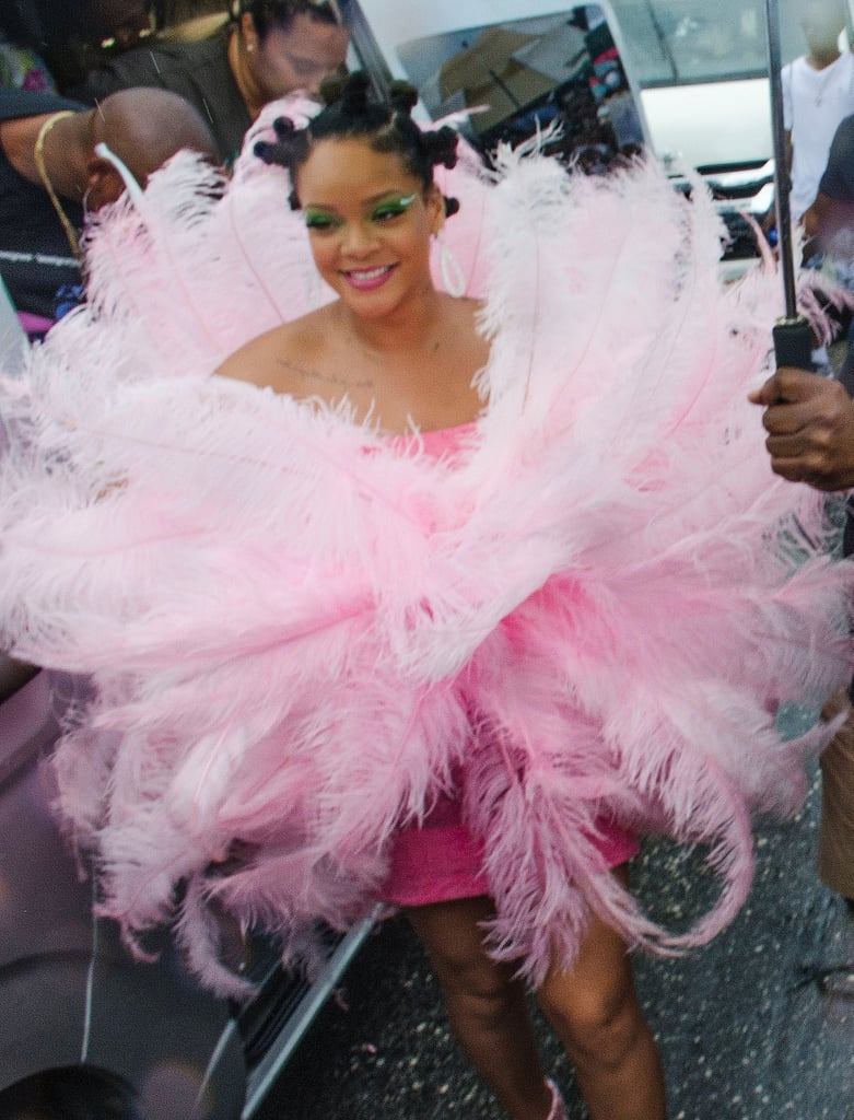 "Rihanna just attended the Crop Over Festival in Barbados wearing a load of pink feathers, rhinestones, and bantu knots. The 31-year-old singer attended the island's Grand Kadooment Day parade to celebrate the traditional harvest in the country.  For the occasion, Rihanna wore her hair in the protective hairstyle, which she's worn on numerous occasions. The look involves small sections of hair twisted or braided on the head. According to Ebony, the term ""Bantu"" refers to many ethnic groups in South Africa, and they are also called Zulu knots after the people who originally wore them.  Ahead, check out how Rihanna wore the style."