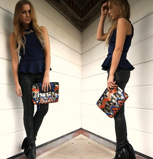 Peplum lends a feminine vibe to slick bottoms and boots for a look that goes from dinner to casual cocktails.  Photo courtesy of Lookbook.nu