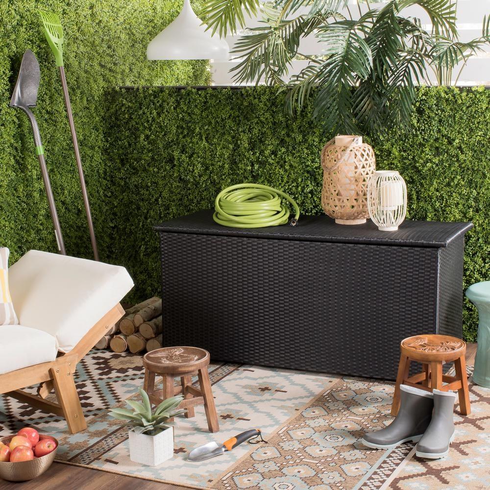 Cosima Black Wood Outdoor Storage Box