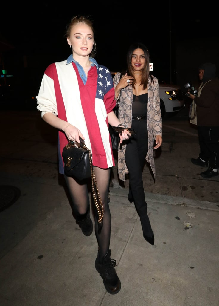 Sophie Turner in an Oversize American Flag Shirt in 2018