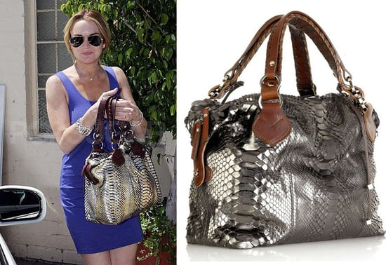Found! Lindsay Lohan's Metallic Python Bag