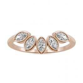 Marquise Curved Petal Moissanite Ring in 14K Rose Gold