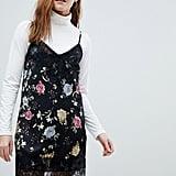 Bershka Floral Lace Insert Slip Dress