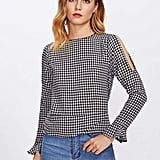 Shein Open Shoulder Gingham Blouse