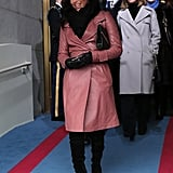 Eva Longoria attended President Obama's swearing-in ceremony in Washington DC in a pink leather trench by Bally.
