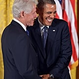 President Obama cracked up alongside Bill Clinton.