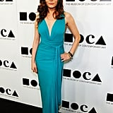 Rose McGowan in a pretty aqua dress at the 2011 MOCA Gala.