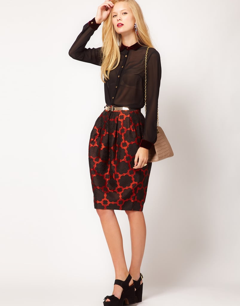 As if the pattern weren't enough, the bell silhouette adds extra interest. ASOS Premium Midi Bell Skirt ($70)