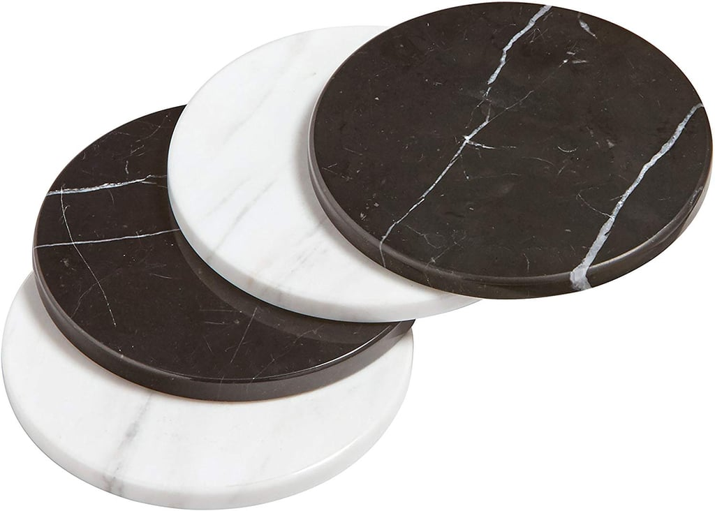 Rivet Mid Century Modern Round Marble Decor Coasters