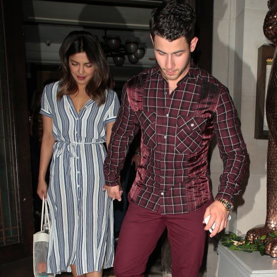 Priyanka Chopra Striped Dress With Nick Jonas