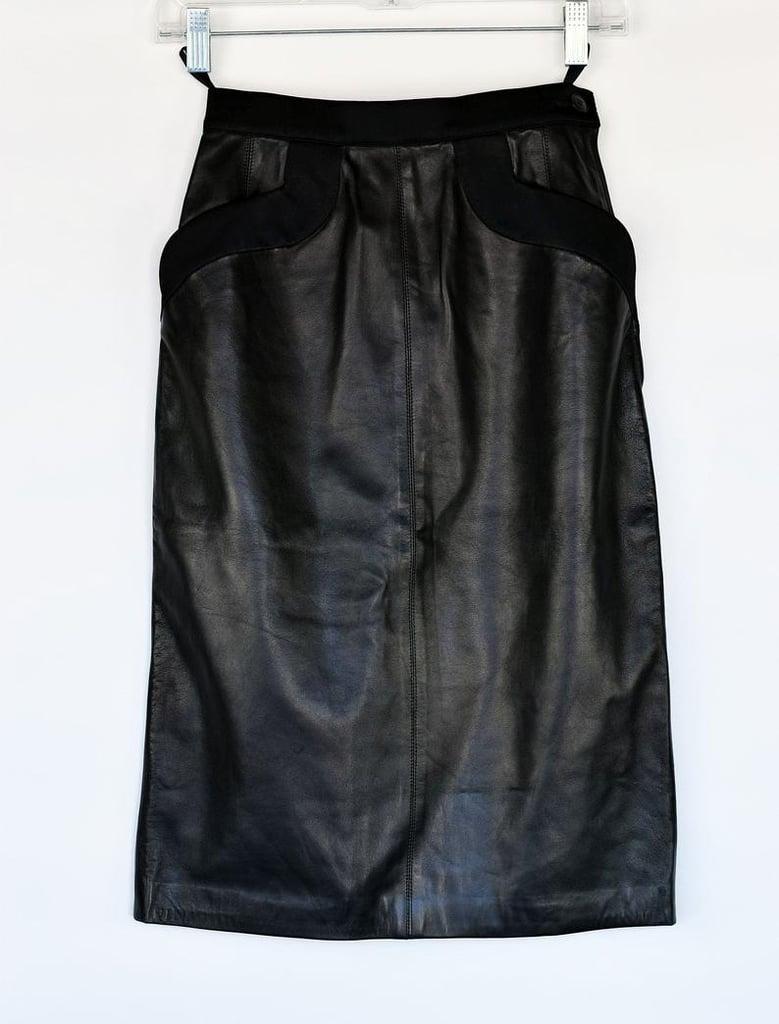 1980s Yves Saint Laurent Black Leather Pencil Skirt Deadstock Vintage With Original Tags