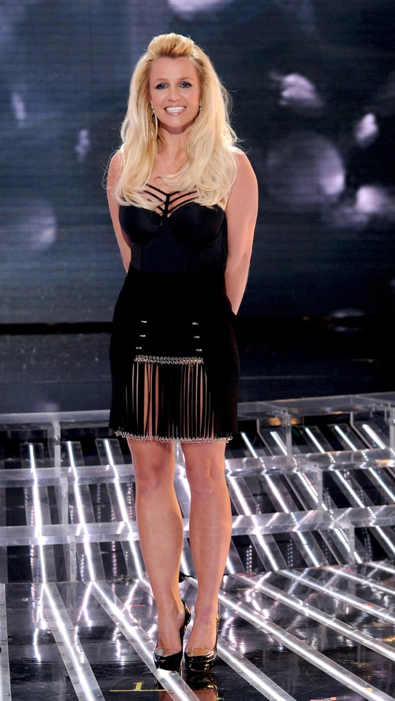 Britney Spears wore a sexy black fringe dress for an X-Factor performance show in November 2012.