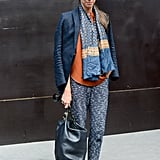 A very cool print mix, thanks to a vintage scarf and tweedy J.Crew trousers.