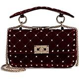 Valentino Garavani Rockstud Matelassé Velvet Small Shoulder Bag