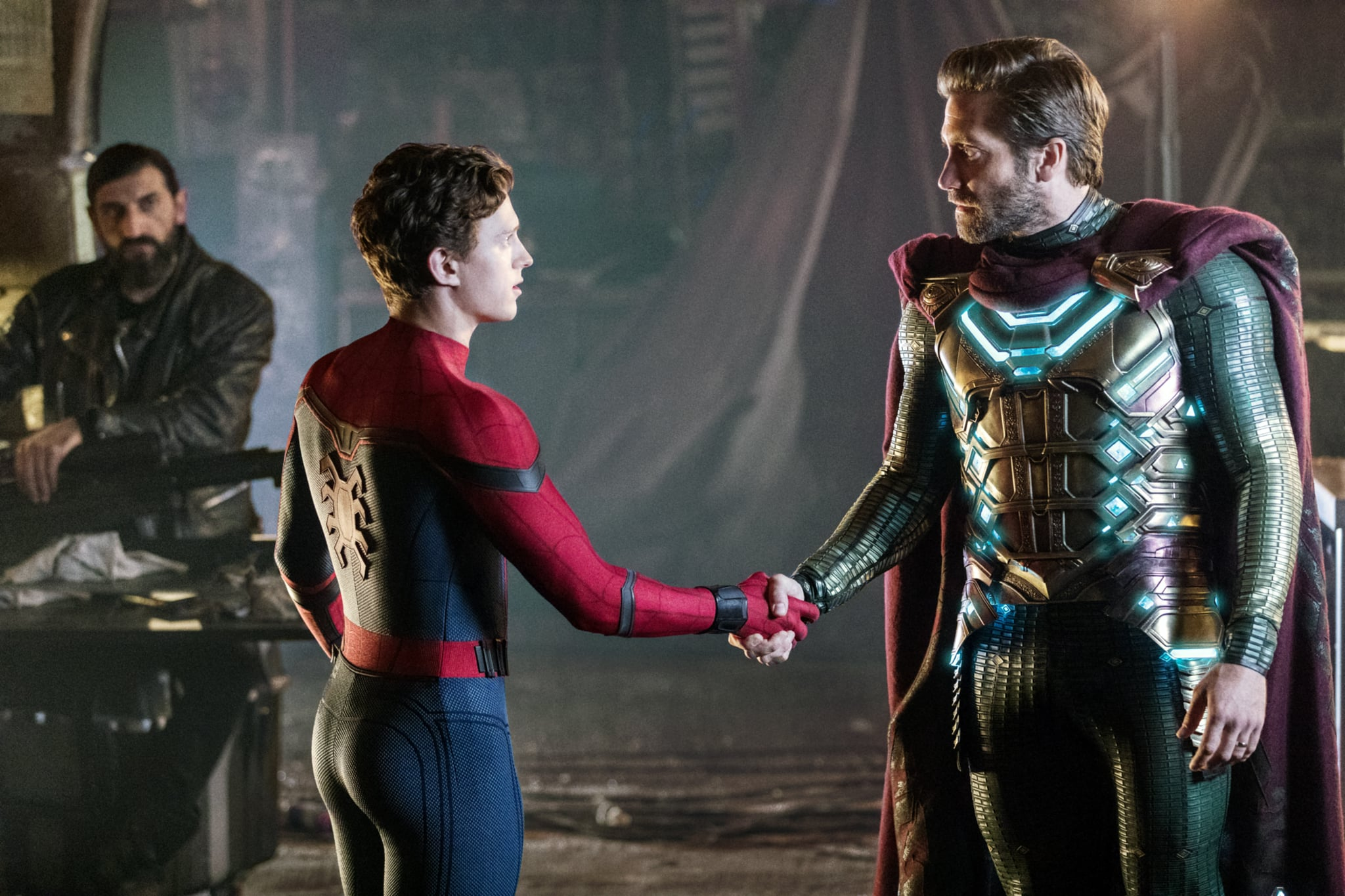 SPIDER-MAN: FAR FROM HOME, from left: Numan Acar, Tom Holland as Spider-Man / Peter Parker, Jake Gyllenhaal, 2019. ph: Jay Maidment /  Columbia Pictures /  Marvel / courtesy Everett Collection