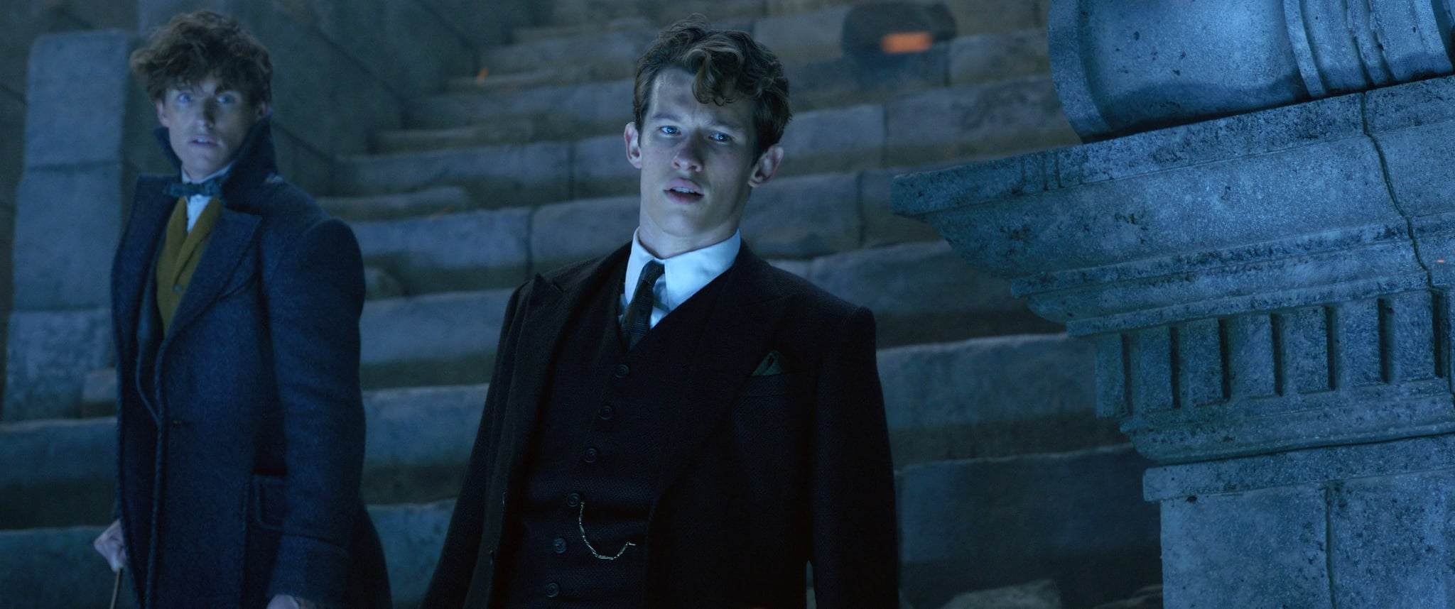 FANTASTIC BEASTS: THE CRIMES OF GRINDELWALD, from left: Eddie Redmayne, Callum Turner, 2018.  2018 Warner Bros. Ent.  All Rights Reserved.Wizarding WorldTM Publishing Rights  J.K. Rowling WIZARDING WORLD and all related characters and elements are trademarks of and  Warner Bros. Entertainment Inc. /Courtesy Everett Collection