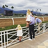 Jessica Capshaw shared a snap of Luke, Eve, and Poppy with their daddy at the big race at Santa Anita Park in Arcadia, CA, on Memorial Day.